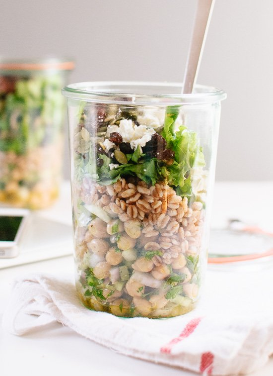Mason jar chickpea, farro and greens salad made with pantry/refrigerator staples - cookieandkate.com