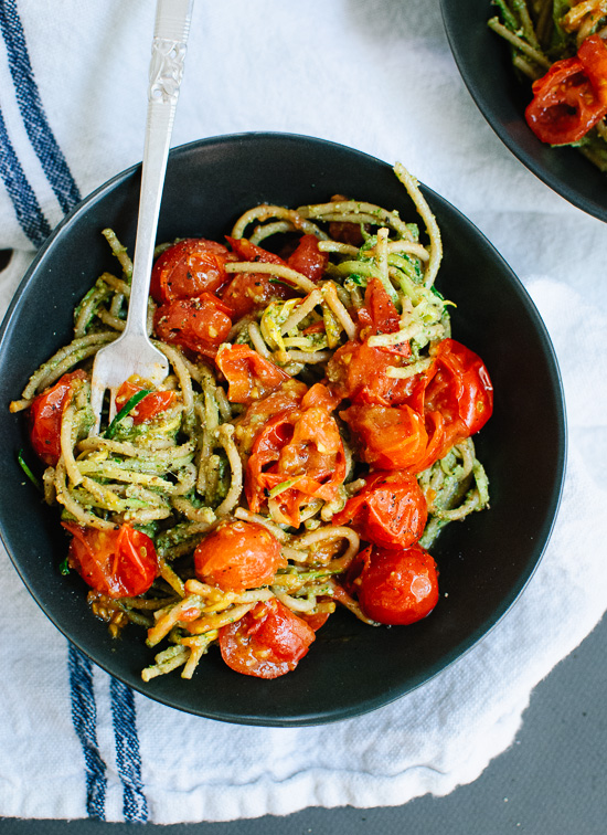 Vegetarian pesto, squash noodles and spaghetti with burst cherry tomatoes - cookieandkate.com