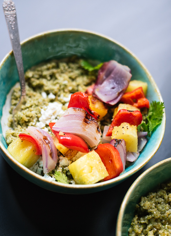 Grilled pineapple and bell pepper with herbed whole grains! This simple meal is packed with flavor. cookieandkate.com