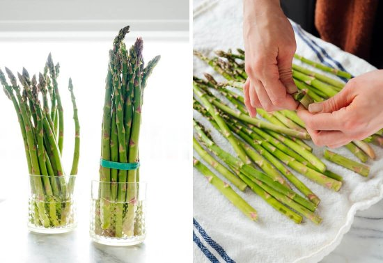 how to store asparagus and how to snap off the woody ends