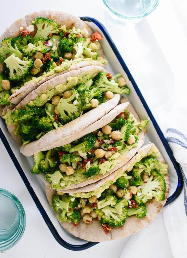 Simple, fresh lunch of broccoli chickpea pita sandwiches - get the recipe at cookieandkate.com