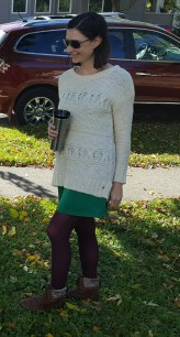 Transition your Summer dresses into Fall with tights and a chunky sweater.