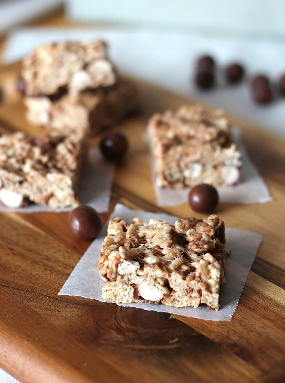 Malted Milk Ball Krispie Treats | Cookies and Cups
