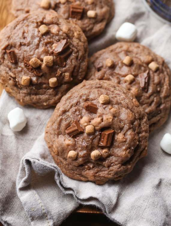 Hot Chocolate Cookies! These are made with hot chocolate mix right in the cookie and loaded with milk chocolate chunks!