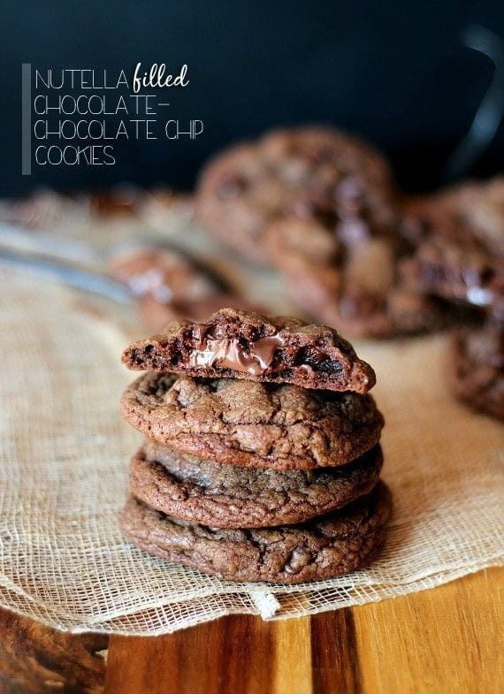 Nutella Filled Chocolate Chocolate Chip Cookies - Cookies ...
