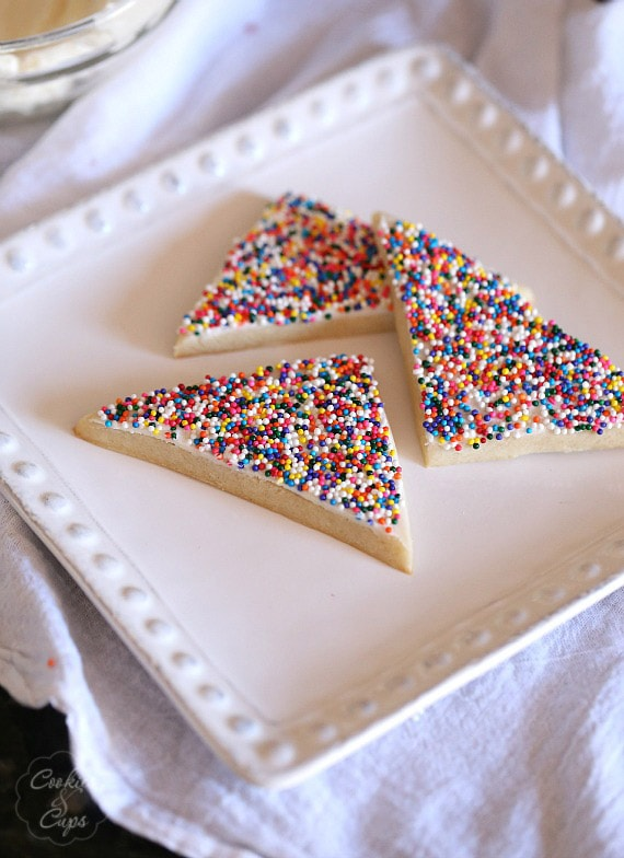 Fairy Toast Cookies ~ A Simple Spin on classic Fairy Toast. It's a buttery cookie topped with a butter frosting and loads of sprinkles!