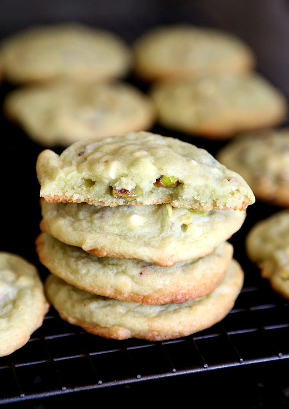 Pistachio Pudding Cookies that are super soft delicious, with the added chopped pistachios and white chocolate