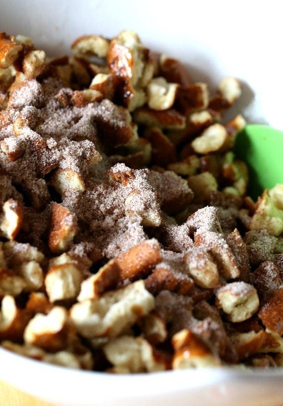 Coating the Pretzel Pieces with Cinnamon Sugar