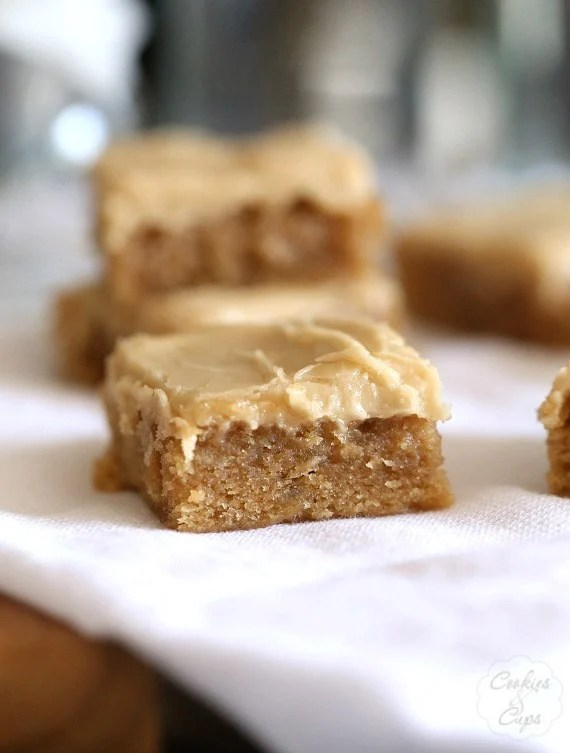 Browned Butter Banana Blondies. These are PERFECT blondies with a subtle banana flavor, topped with a brown sugar frosting that is INSANELY good!