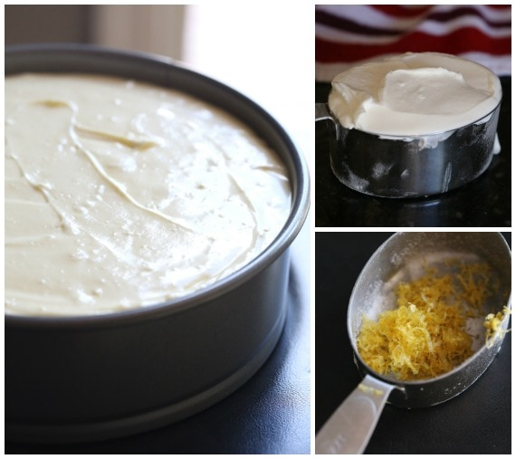 Making the lemon cheesecake