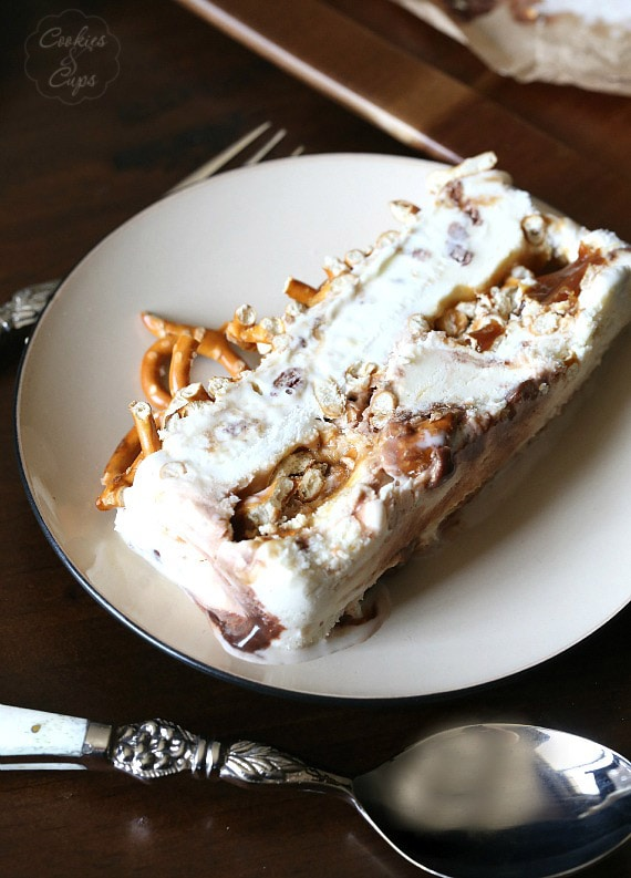 A slice of the Sweet and Salty Ice Cream Terrine...Chubby Hubby Ice cream (or any flavor you would like) with caramel and pretzels!