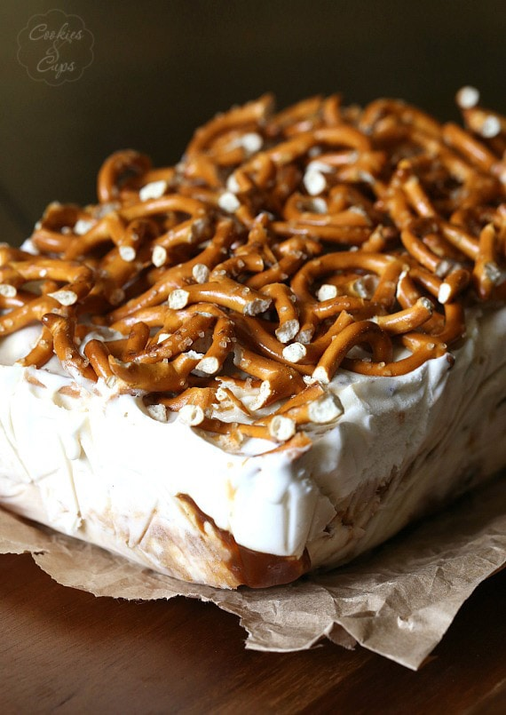 Sweet and Salty Ice Cream Terrine.. yummy Chubby HUbby Ice Cream with pretzels and caramel! SO pretty and insanely delicious!