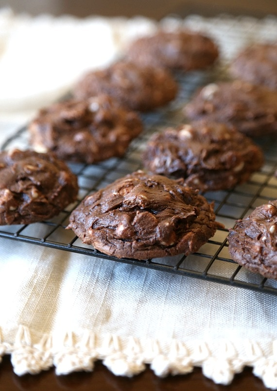 Cream Cheese Brownie Cookies...SIMPLE cookies made with a brownie mix that are super chocolatey and gooey!