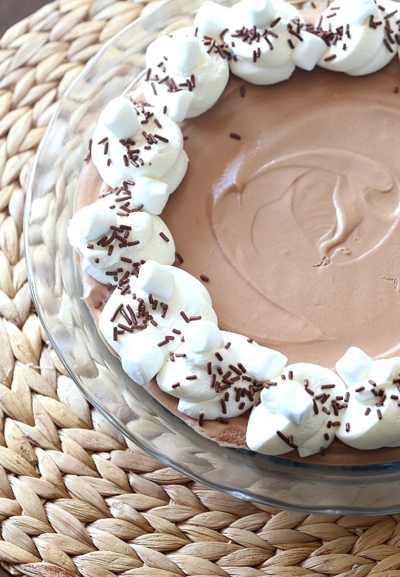 This silky Chocolate Marshmallow Pie is made with a creamy mixture of milk chocolate, whipped cream and melted marshmallows!