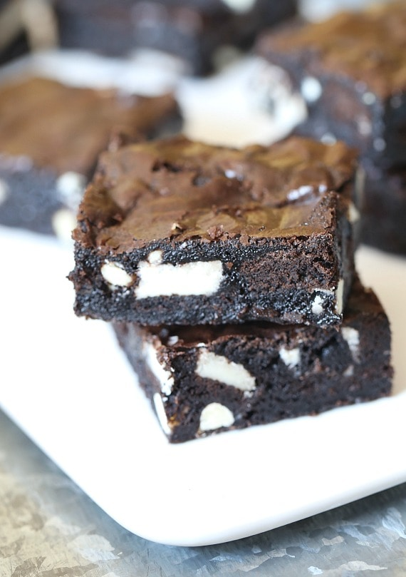 These Bombshell Oreo Brownies are super fudgy, loaded with Oreo cookies and simple to make! They're everything a brownie should be!