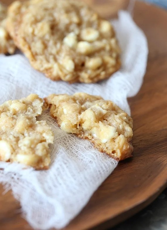 Chewy Coconut Cream Cheese Cookies loaded with white chocolate!