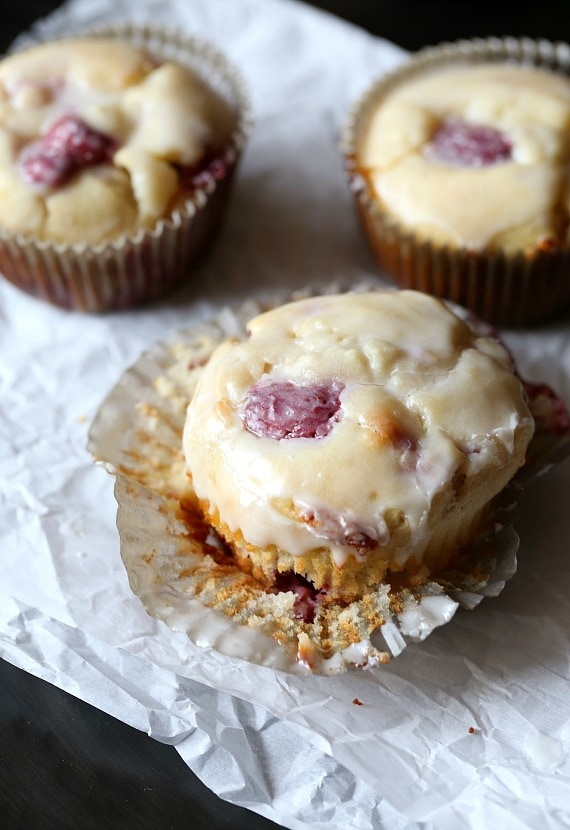 These White Chocolate Raspberry Muffins are sweet, soft and loaded with juicy raspberries!