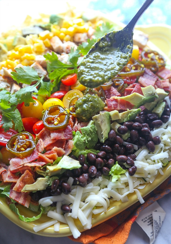 This Southwestern Cobb Salad with Spicy Cilantro Lime Vinaigrette is OUT OF THIS WORLD! The vinaigrette is something I make almost once a week!!