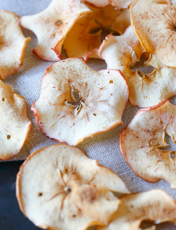Crispy Baked Apple Chips! Healthy and delicious and the perfect way to use up extra apples!