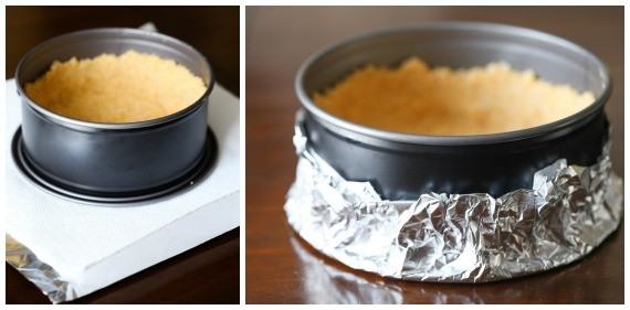 To make a cheesecake in the pressure cooker cover the bottom of the pan with a paper towel first to absorb liquids and then with foil!