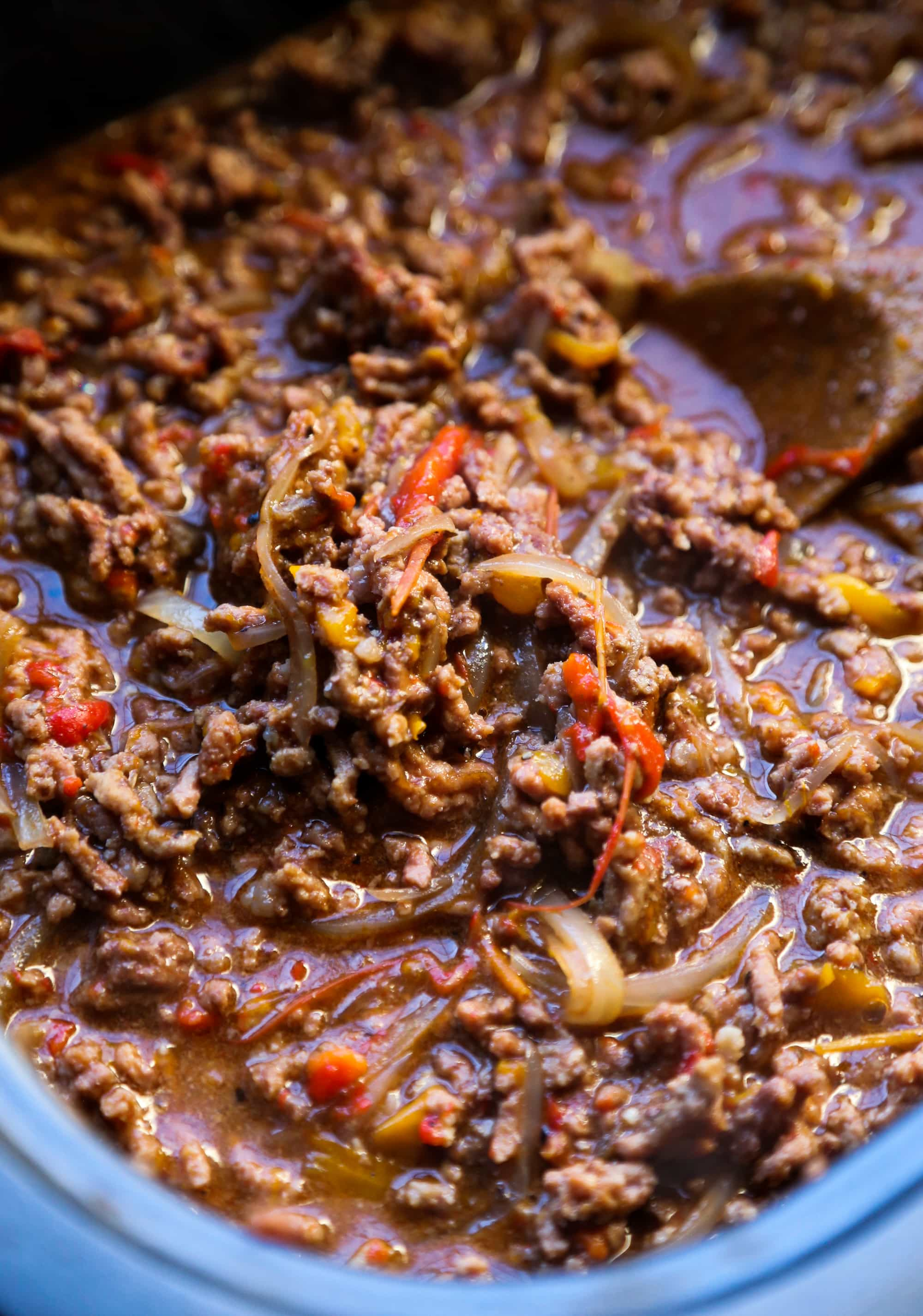 Slow Cooker Philly Cheesesteak Sloppy Joe recipe! Super easy and great for feeding a crowd!