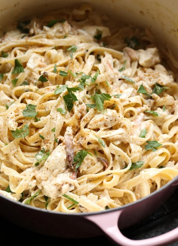 Crab Alfredo is an indulgent dish, but is ready from start to finish in 15 minutes! A family favorite for sure!