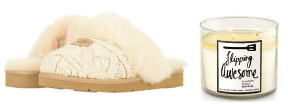 fall slipper and candle