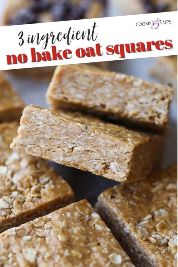 3 Ingredient No Bake Oat Squares Pinterest Image