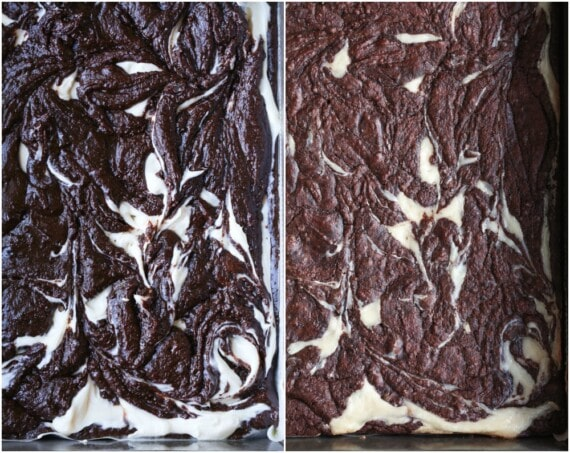 The Swirly Top of Cheesecake Brownies Before and After Baking