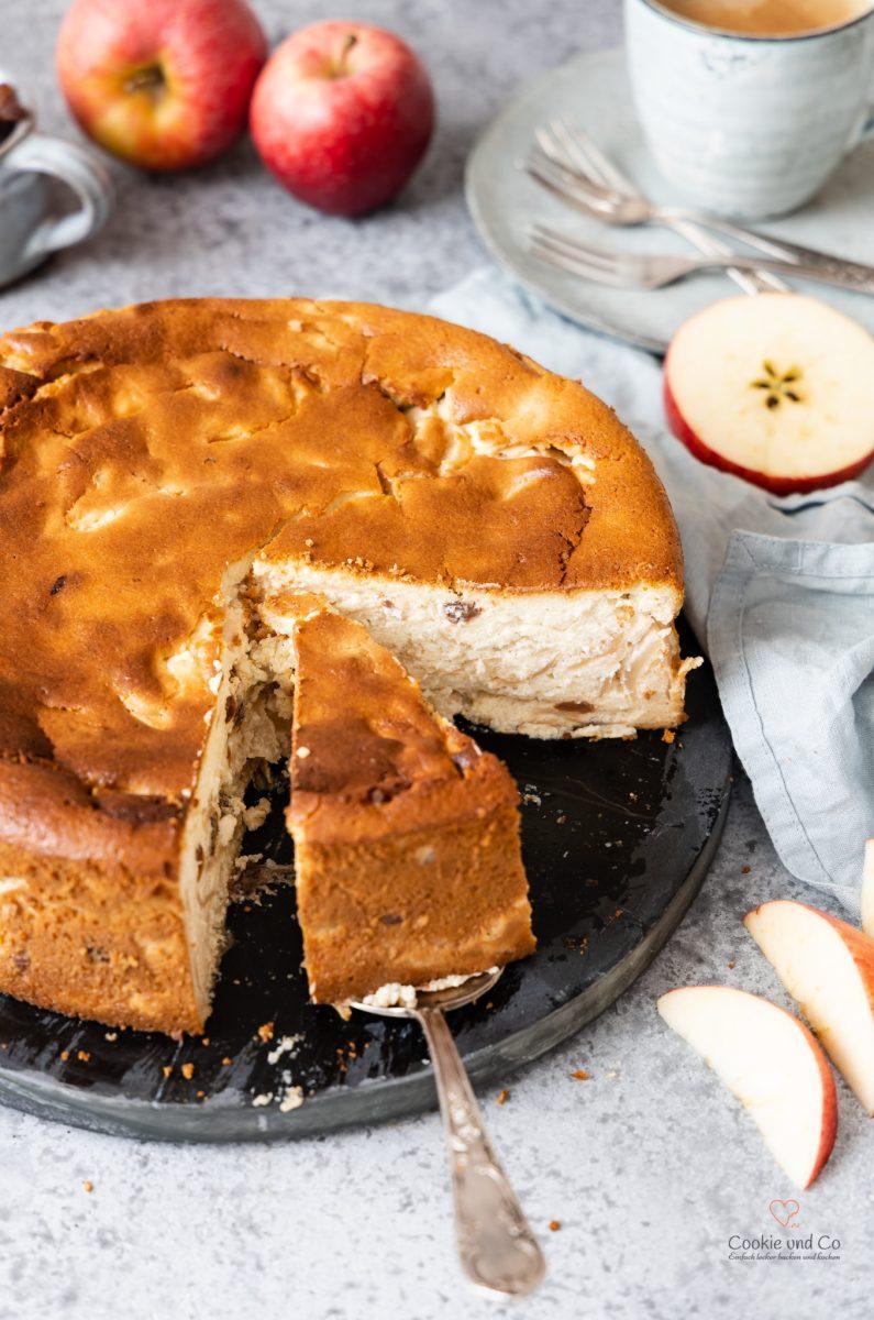 Apfel-Quark-Kuchen mit Grieß (ohne Boden)