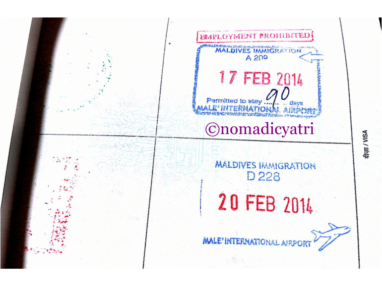 Maldives tourist visa stamp