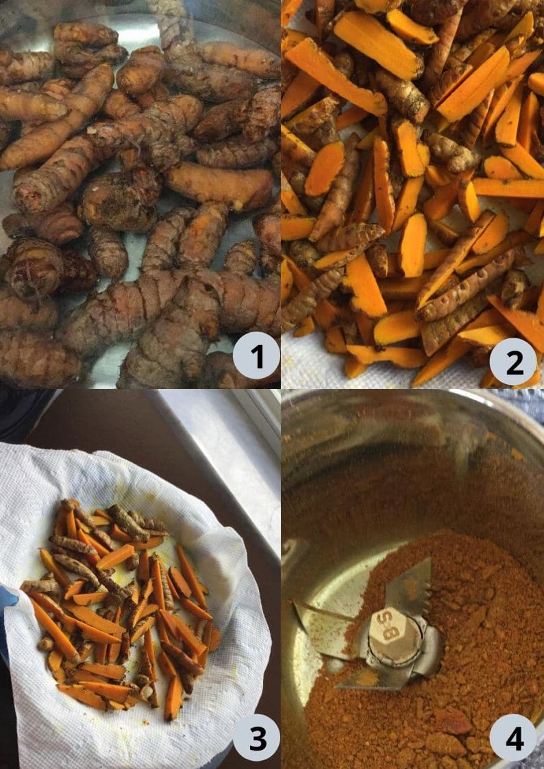 4 image collage showing the steps to make turmeric powder