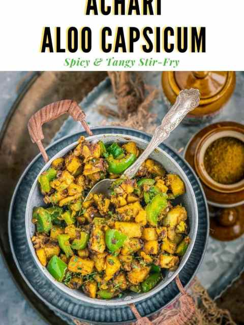 Achari Aloo Capsicum in a kadai with a spoon in it and text on top