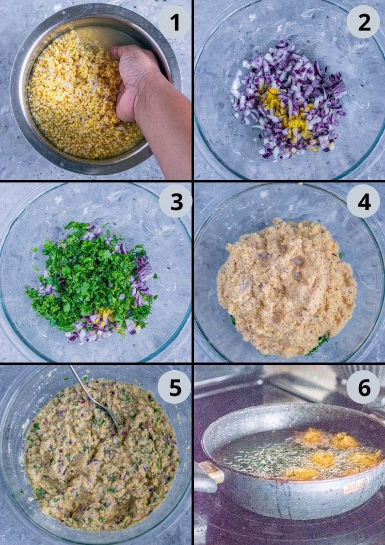 6 image collage showing the steps to make Crispy Moong Dal Pakora (one of the popular easy vegan appetizers)