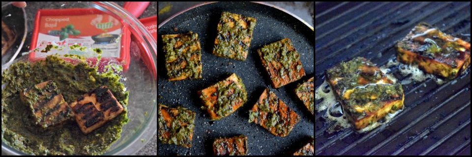 A delicious snack for Summer! Grilled tofu is marinated with basil & garlic sauce & served with chutney.Loaded with proteins, this grilled dish is yummy!