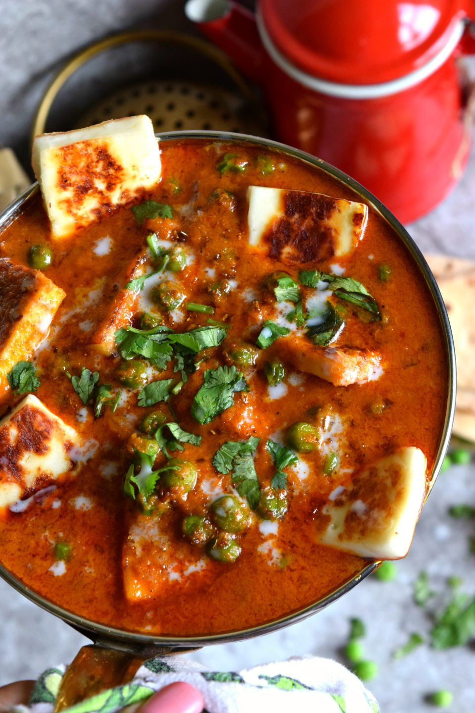 Thai Mutter Paneer is a gravy dish made with green peas & paneer. The popular Mutter Paneer gets a Thai makeover making it an interesting fusion dish.