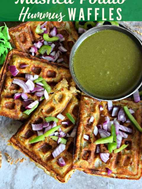 Mashed Potato Hummus Waffles placed on a platter with text at the top and bottom