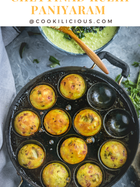 Chettinad Kuzhi Paniyaram in an appe pan with text on top
