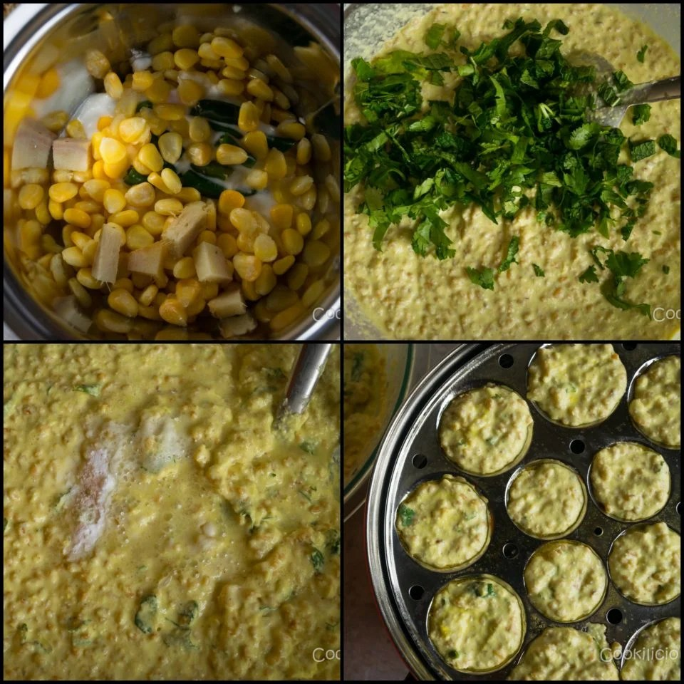 steps to make idli batter made of bulgur wheat & sweet corn