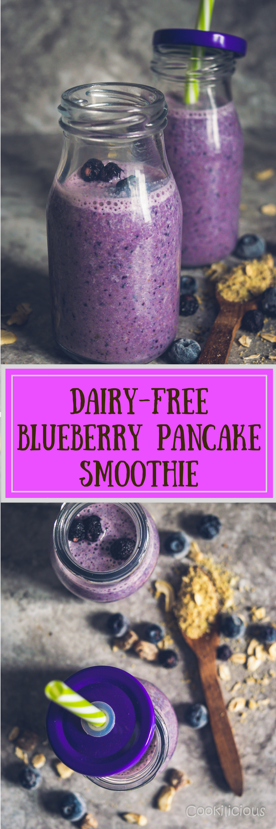 2 images of Dairy-Free Blueberry Pancake Smoothie with text in the middle