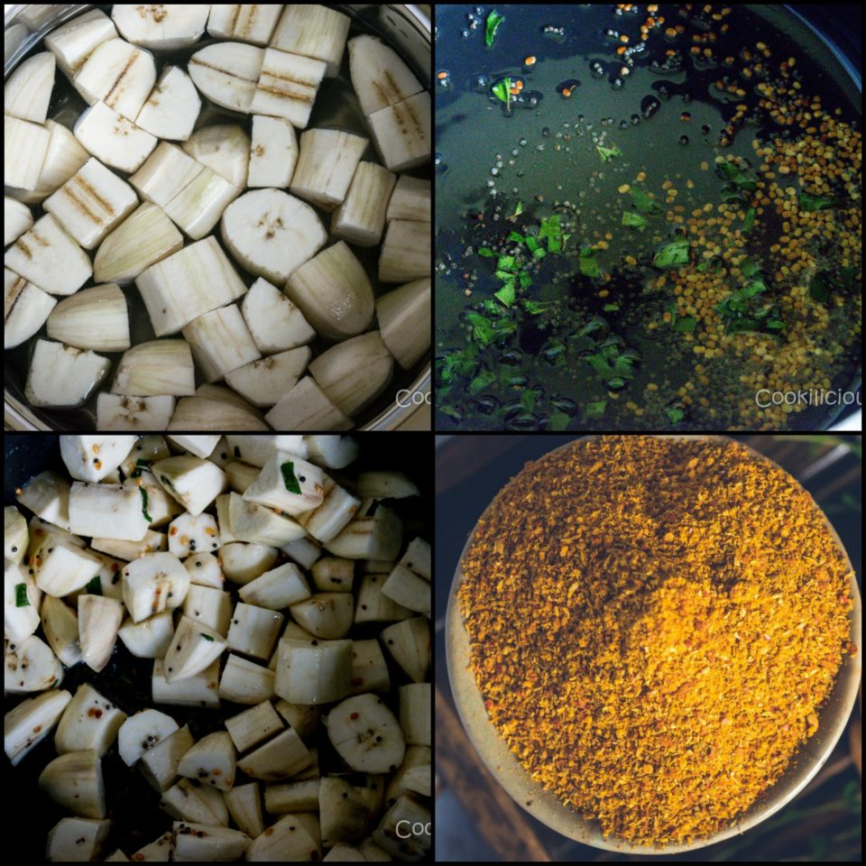 4 images showing the steps to make Crispy Raw Banana/Plantain Fry Recipe