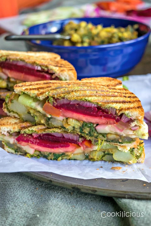close up shot of 2 slices of Bombay Style Veg Masala Toast Sandwich