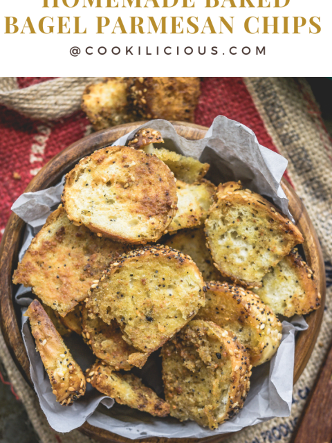 a bowl of Homemade Baked Bagel Parmesan Chips with text on top