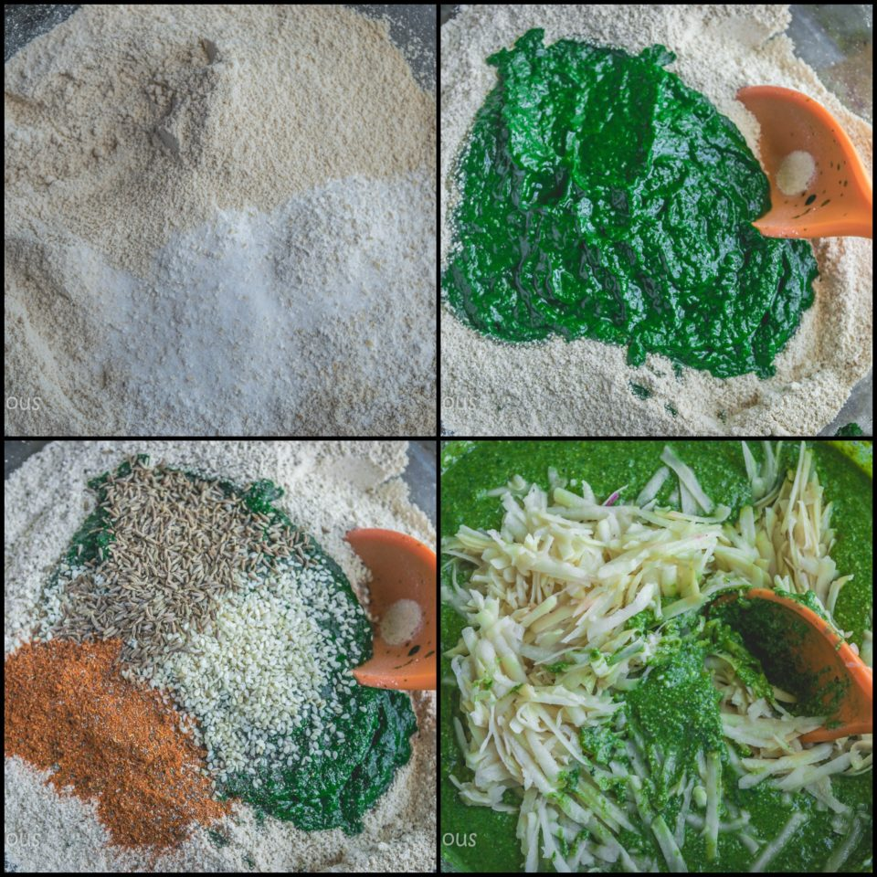 4 steps showing how to make Amaranth Potato Idli