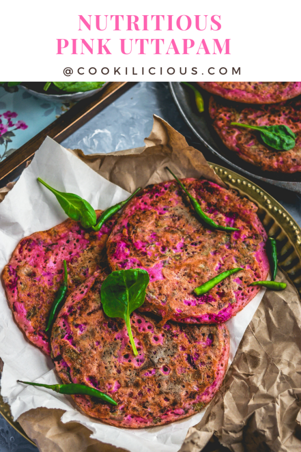 3 Pink Uttapam with Beets & Veggies over crumbled brown paper and text on top