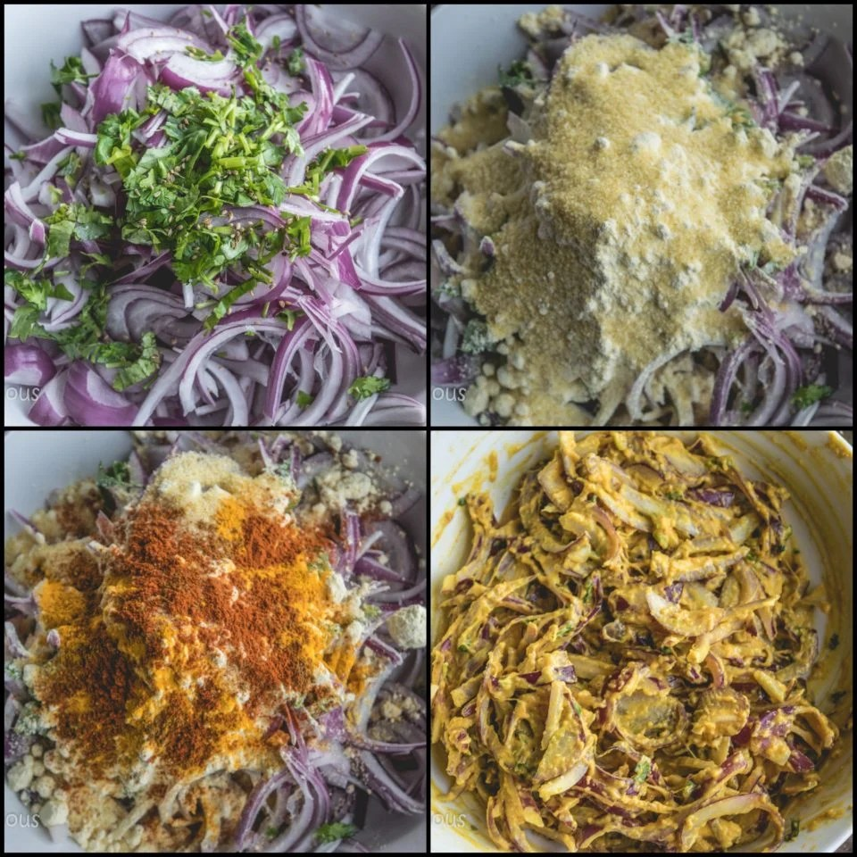 4 image collage showing the process to make Vegan Crispy Onion Pakoda | Fried Kanda Bhajiya