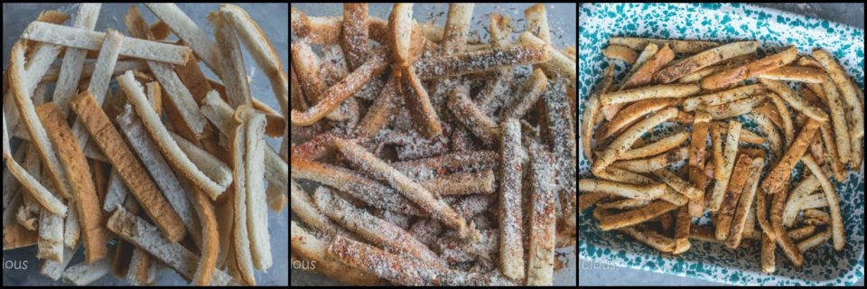 3 images to show the steps to make Crispy Bread Crust Parmesan Baked Fries