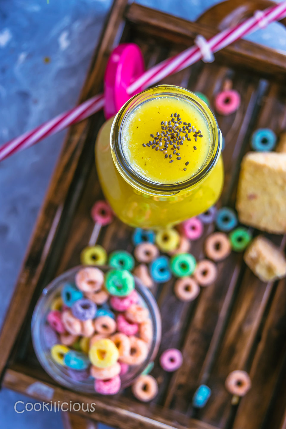 top angle shot of Kiwi Detox Smoothie with a side of fruit loops