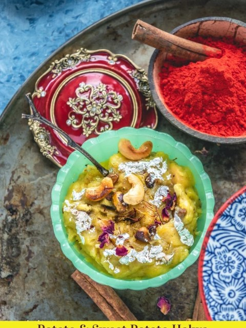 a bowl of Holi color resting next to a bowl of Potato & Sweet Potato Halwa & text at the bottom