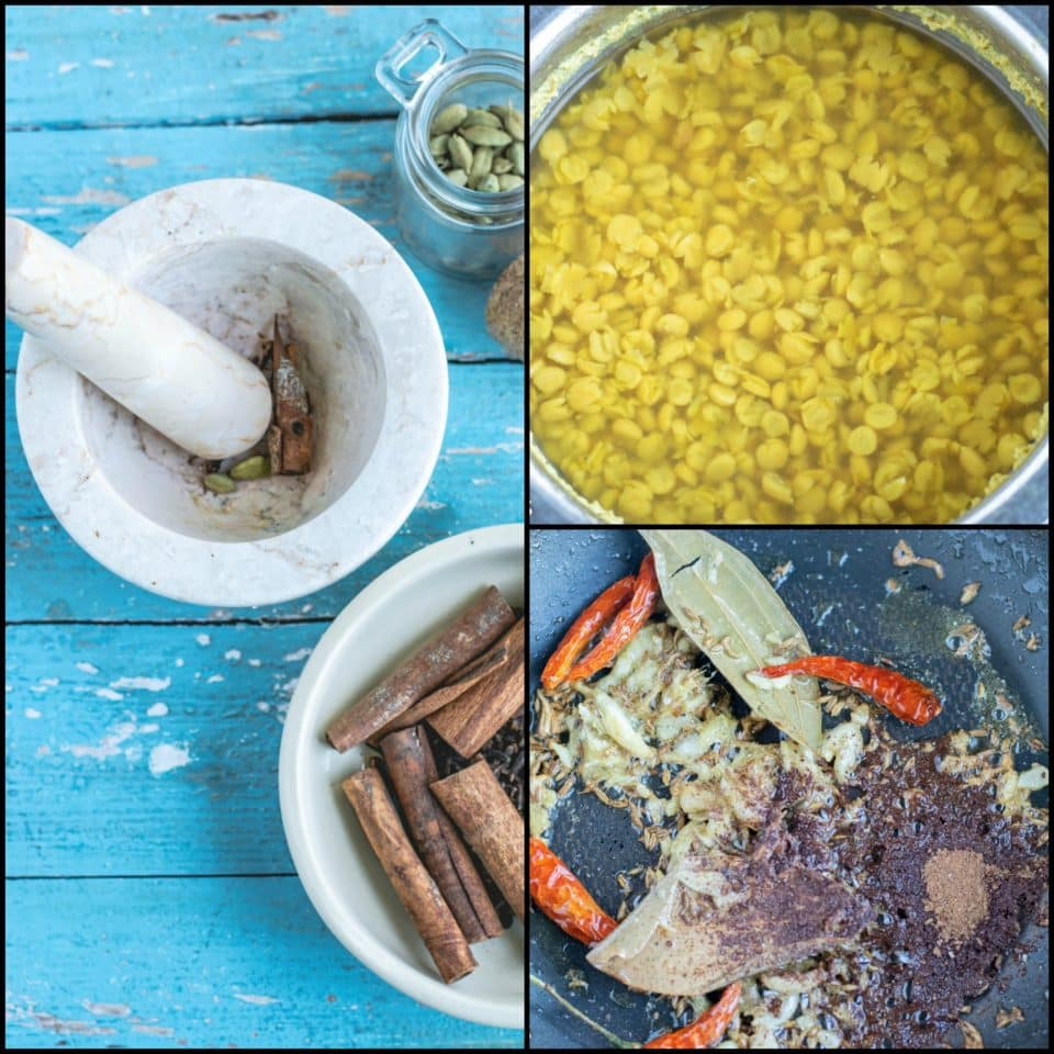 3 image collage showing the steps to make Bengali Style Cholar Dal With Chana Dal